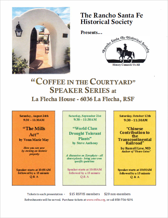 "2019 ""COFFEE IN THE COURTYARD"" Speaker Series at La Flecha House"